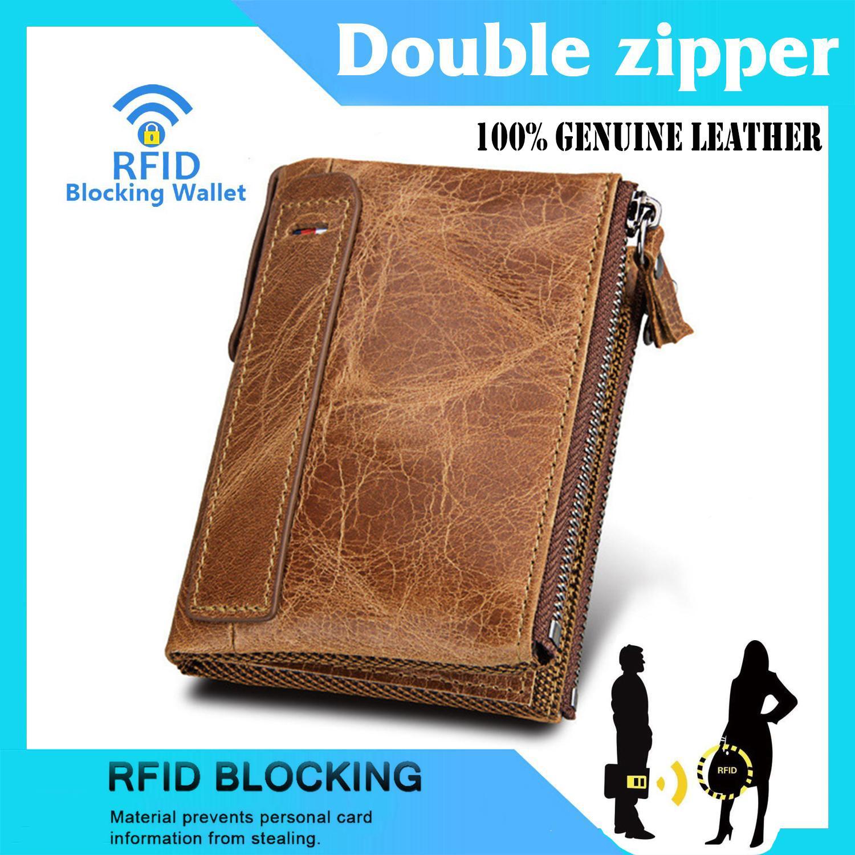 EsoGoal Pria RFID Blocking Dompet Kulit Asli Men RFID Blocking Wallet Hot Crazy Horse Genuine Leather