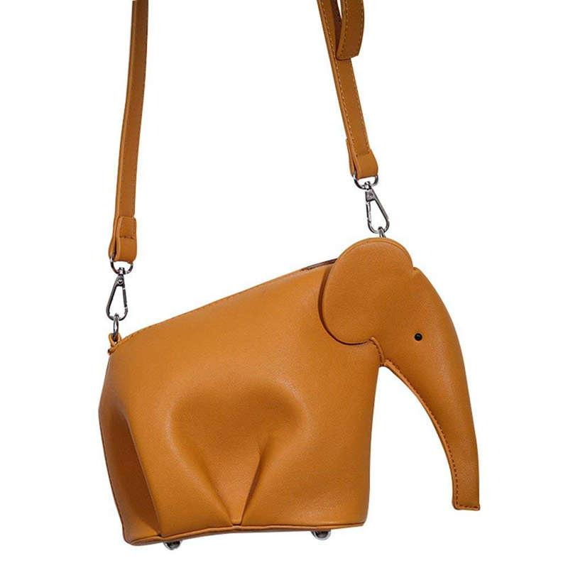 กระเป๋าสะพายพาดลำตัว นักเรียน ผู้หญิง วัยรุ่น ชัยนาท Women s Cute Candy Color Elephant Style PU Leather Mini Cross body Bag(Brown)