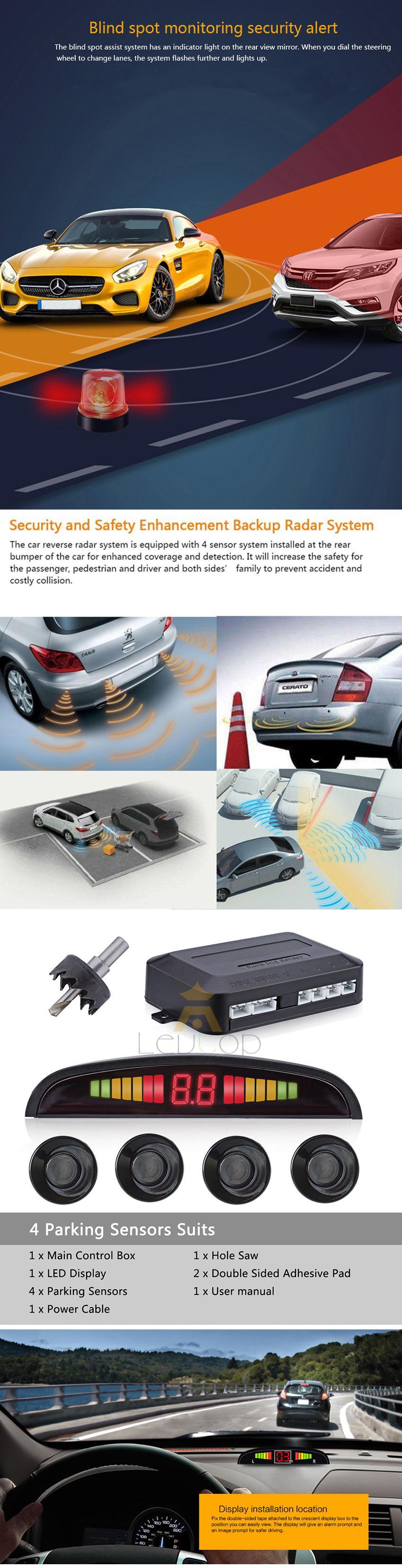 Wireless 4 Parking Sensors LED Display Vehicle Car Backup Reverse Radar System