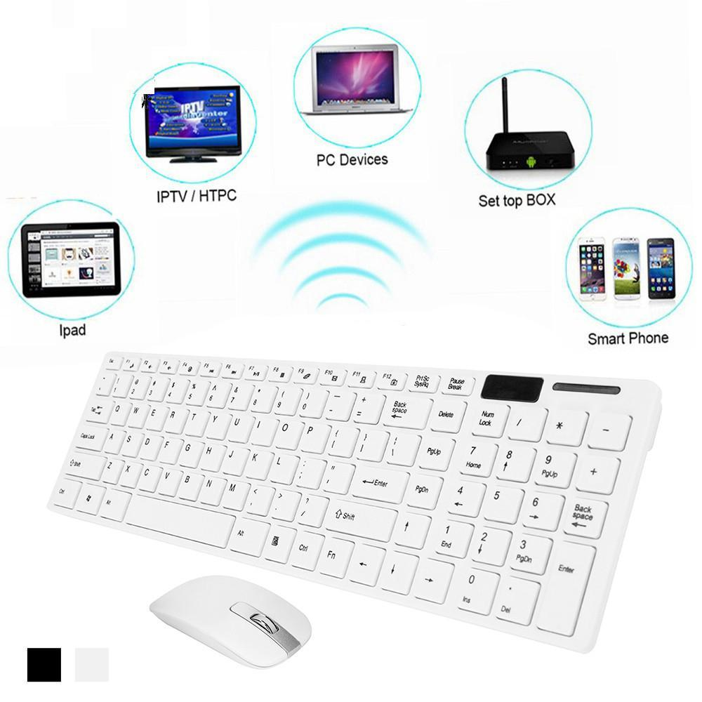 Best Ultra Slim Silent Wireless 2 4GHz Mini Keyboard and Mouse Set with USB  Bluetooth Receiver for PC Laptop Android Smart TV ( No More Tired Hands