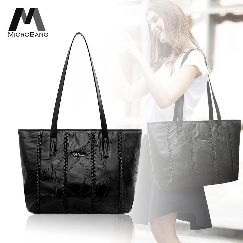 ปทุมธานี MicroBang กระเป๋าสะพายข้าง Women s Soft PU Leather Top Handle Satchel Handbags Daily Work Tote Shoulder Bag Large Capacity Ladies Bags