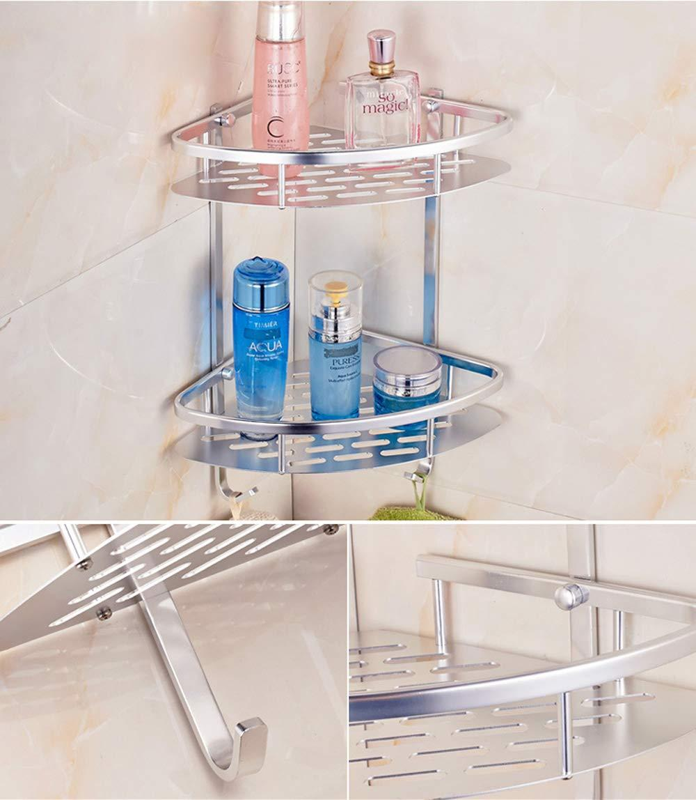 Comfort Room Corner Double Layer Triangle Rack Holder Shelf Storage Organizer Rustproof Aluminum Corner Shower Caddy Silver