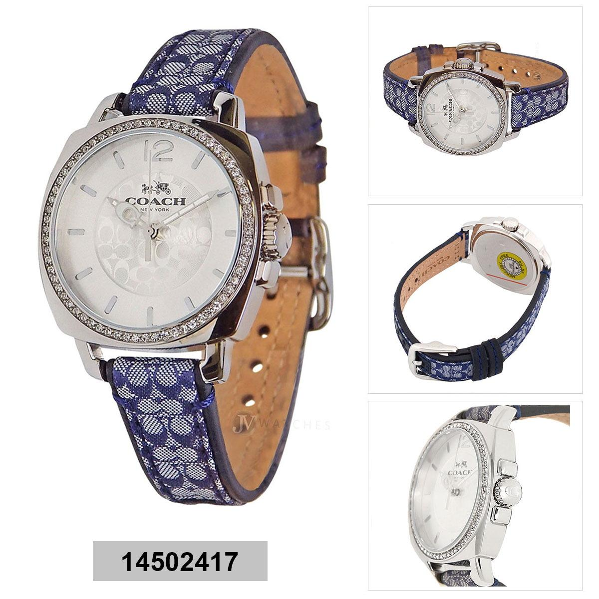 Coach Coach Blue Stainless-Steel Case Leather Strap Ladies 14502417