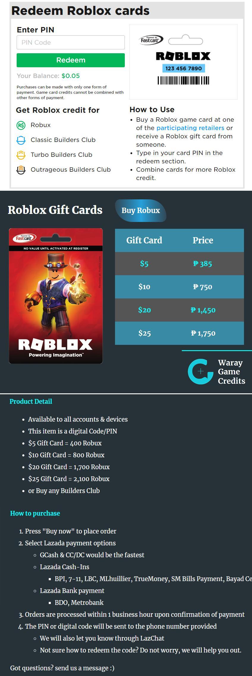 $10 Roblox Gift Card (800 R$)