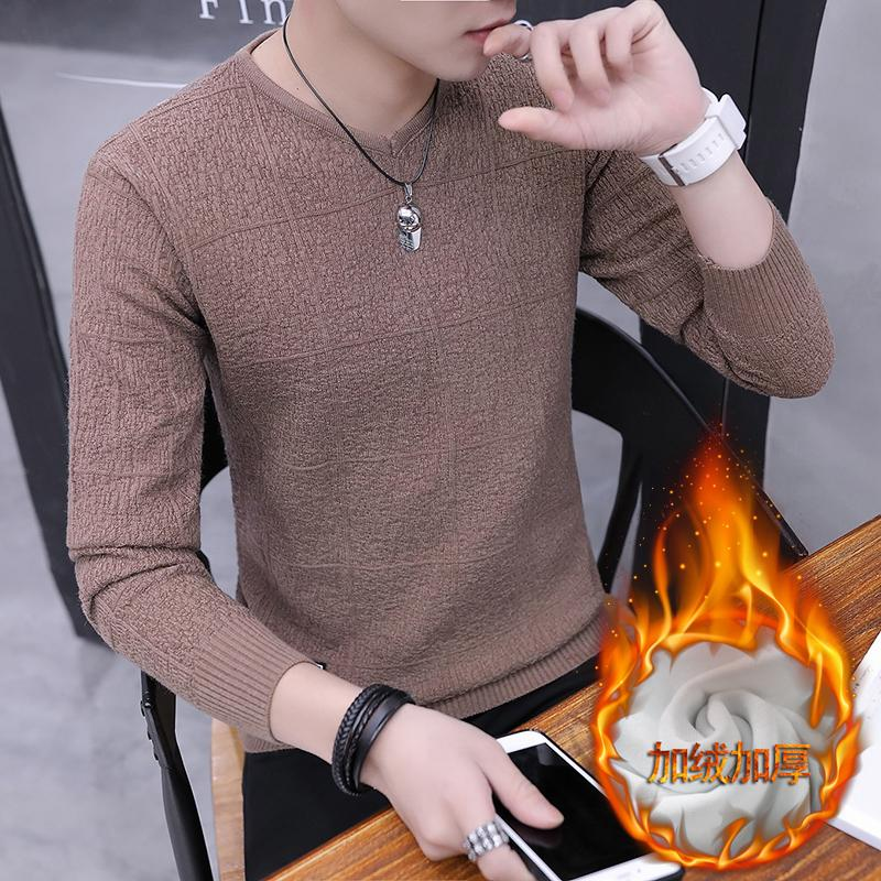 ... Kaos Pria 2018 musim gugur dan dingin Gaya Korea Kaos Sweater pria tambah beludru lebih tebal ...
