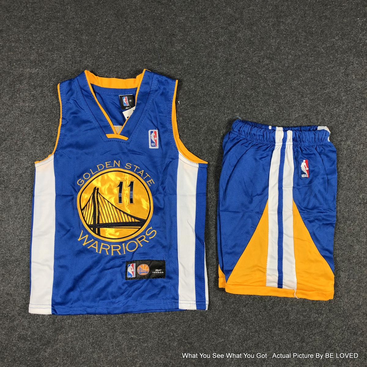 sports shoes b5e5e e685c BL® NBA Terno Set Warriors #11 Thompson Kids Boys Swingman Jersey  Embroidery High Quality Class A Breathable Sports Basketball Bestgift
