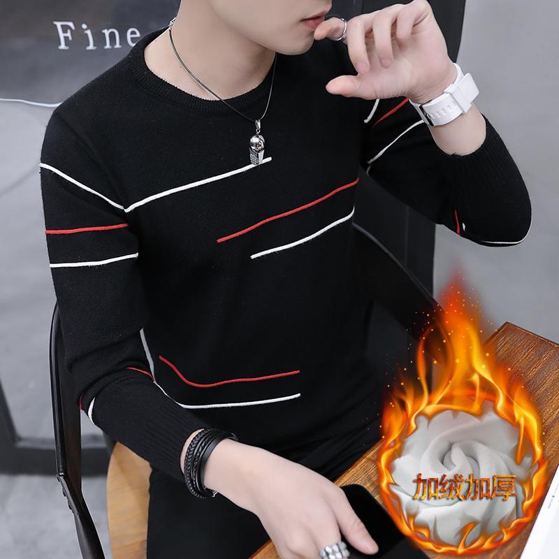... Kaos Pria 2018 musim gugur dan dingin Gaya Korea Kaos Sweater pria tambah beludru lebih tebal
