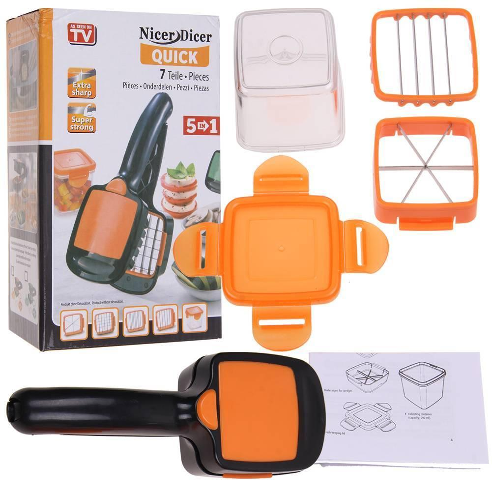Nicer Quick Stainless Steel Vegetable Dicer Chopper 4 in 1 Multi-functional  Kitchen Onion Vegetable Cutter Slicer